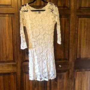 White eyelet dress with sleeves